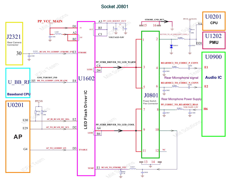 J0801 Socket quản lý phím nguồn đèn Flash Micro cam sau iPhone 6