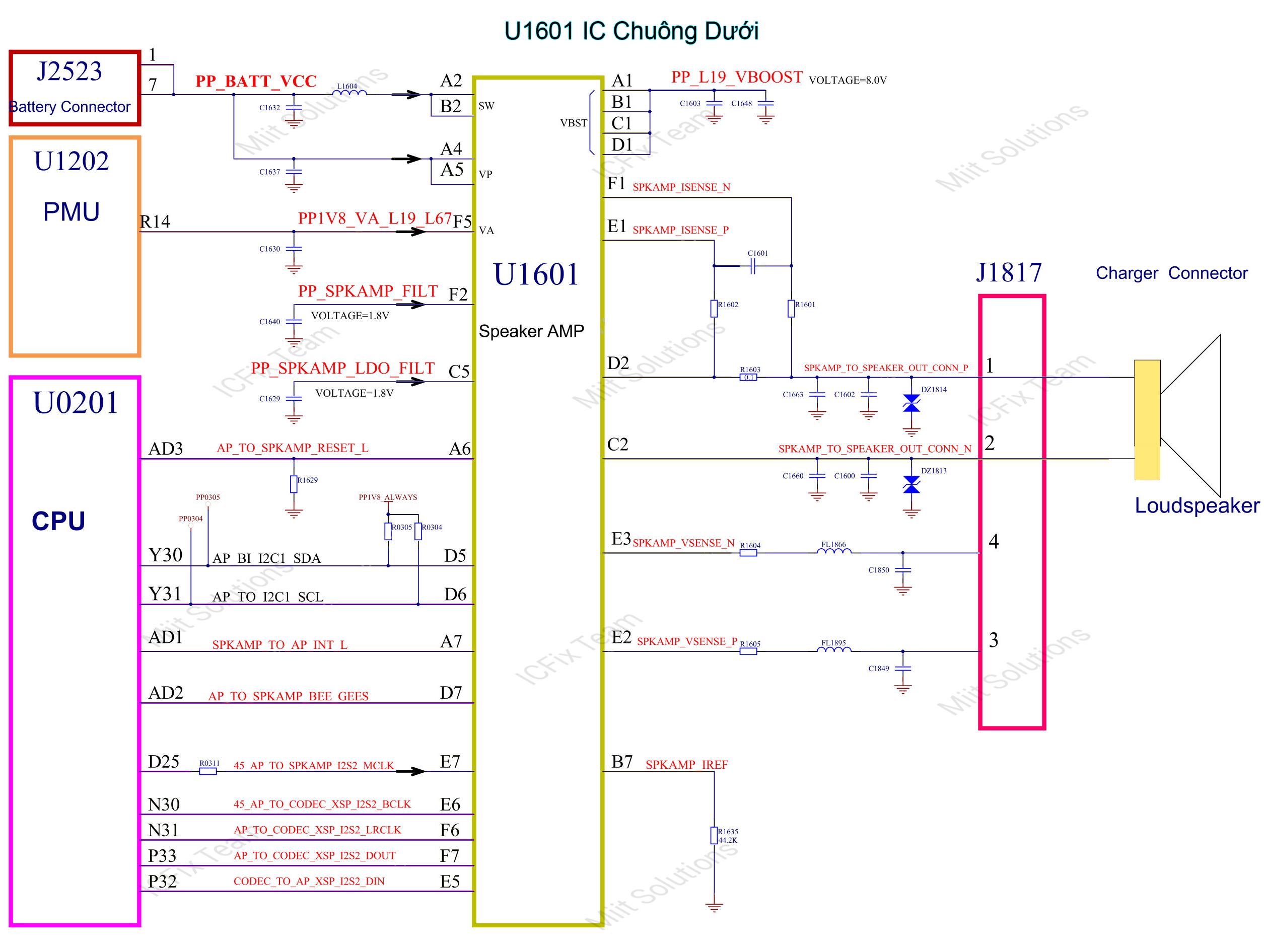U1601 IC DAC quản lý chuông loa ngoài iPhone 6